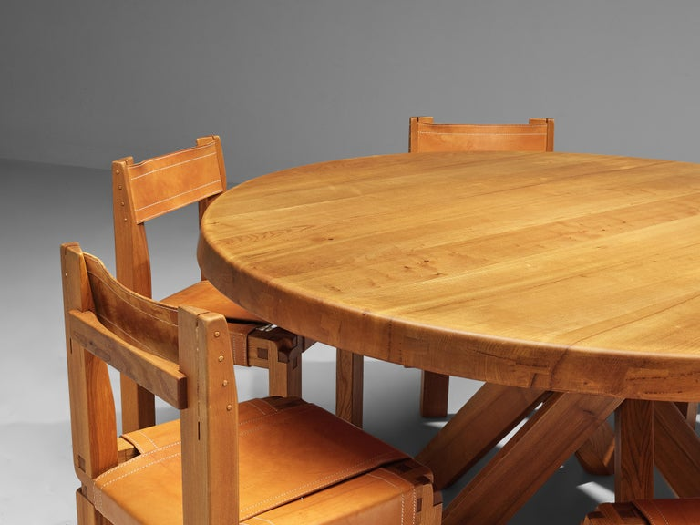 Pierre Chapo T21E 'Sfax' Dining Table in Solid Elm For Sale 4