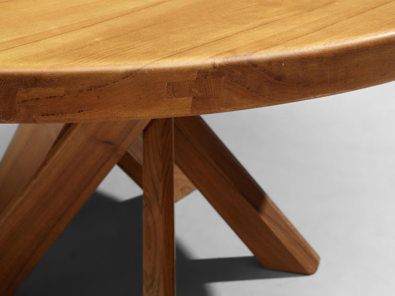 Mid-Century Modern Pierre Chapo T21E 'Sfax' Dining Table in Solid Elm For Sale