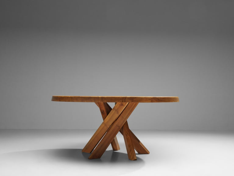 French Pierre Chapo T21E 'Sfax' Dining Table in Solid Elm For Sale