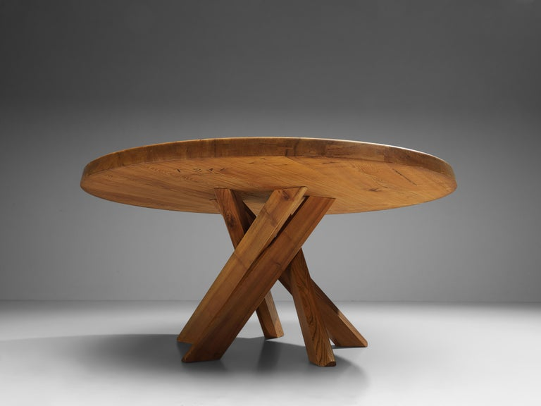 Mid-20th Century Pierre Chapo T21E 'Sfax' Dining Table in Solid Elm For Sale