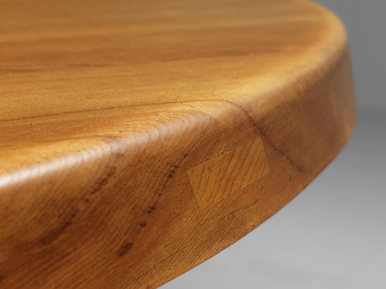 Pierre Chapo T21E 'Sfax' Dining Table in Solid Elm For Sale 1