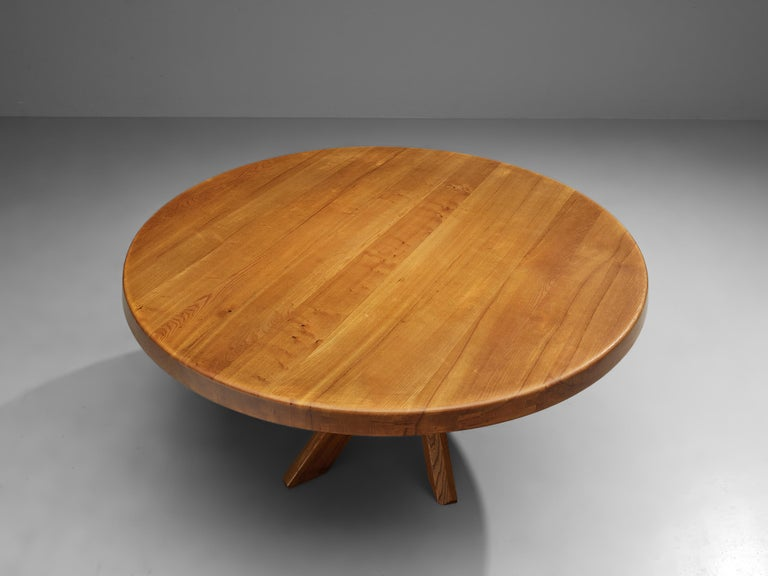 Pierre Chapo T21E 'Sfax' Dining Table in Solid Elm For Sale 2