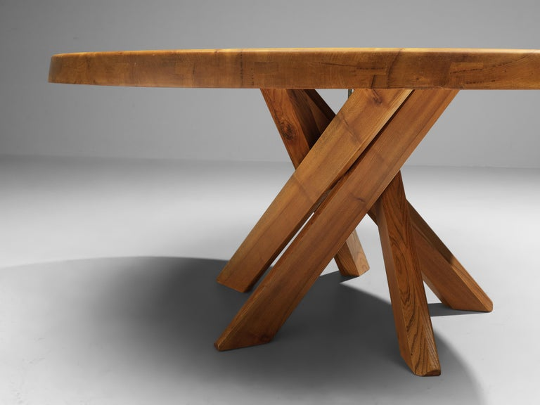 Pierre Chapo T21E 'Sfax' Dining Table in Solid Elm For Sale 3