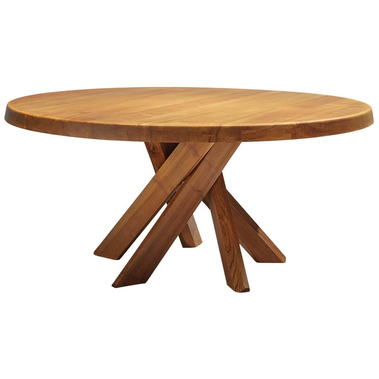 Pierre Chapo T21E 'Sfax' Dining Table in Solid Elm For Sale