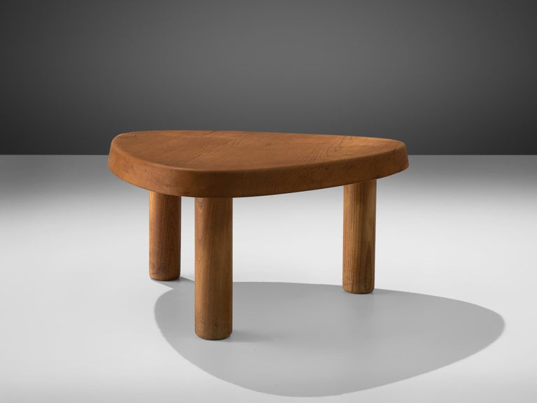 Pierre Chapo, side table T23, elm, France, circa 1960