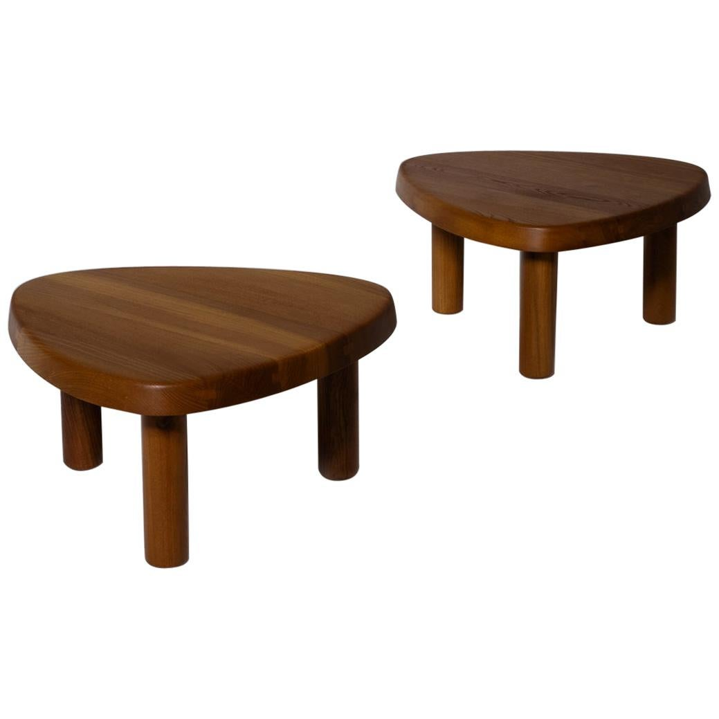 Pierre Chapo 'T23' Solid Elm Side Tables, Set of Two