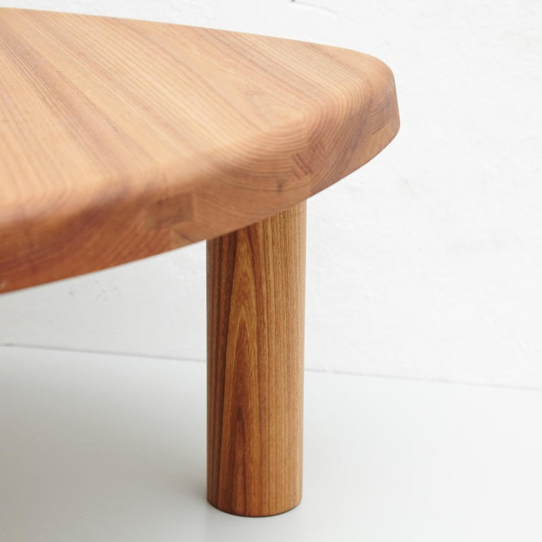 French Pierre Chapo T23 Solid Elm Wood Formalist Side Table For Sale