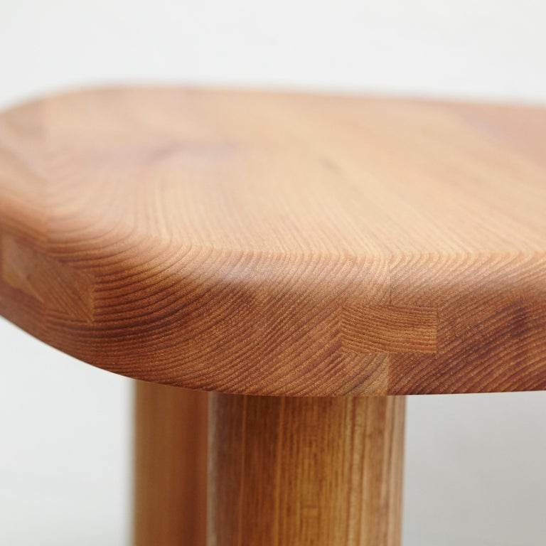 Pierre Chapo T23 Solid Elm Wood Formalist Side Table In Good Condition For Sale In Barcelona, Barcelona