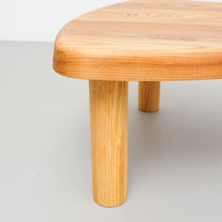 Contemporary Pierre Chapo T23 Solid Elm Wood Formalist Side Table For Sale