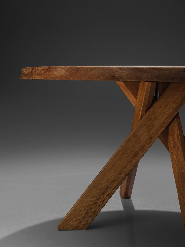 Pierre Chapo, T21C Dining Table in Solid Elm, France For Sale 1