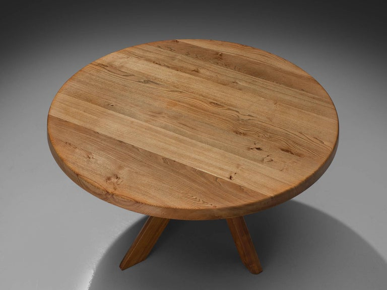 French Pierre Chapo, T21C Dining Table in Solid Elm, France For Sale