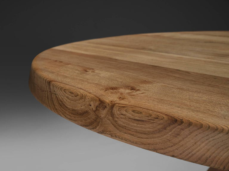 Pierre Chapo, T21C Dining Table in Solid Elm, France In Good Condition For Sale In Waalwijk, NL