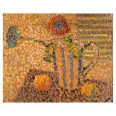 Pierre Chowee, Unknown Artist, Oil on Board, Still Life with Flowers in Jug