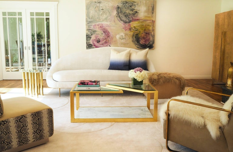 PIERRE COFFEE TABLE - Modern Carrara Marble Table with Gold Leaf over Iron For Sale 1