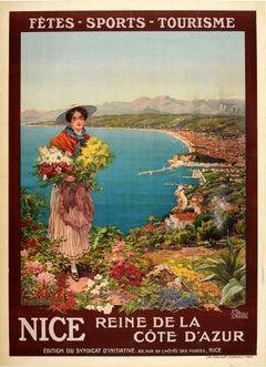 Original Antique Poster Nice Reine De La Cote D'Azur French Riviera Travel Sport