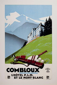 """Combloux (Golfing),"" Original Lithograph Poster signed by Pierre Commarmond"