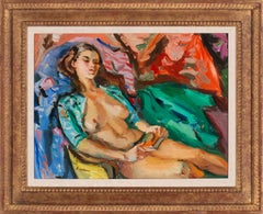 [Untitled Nude: Endormi Couché Nu] Oil Painting by Pierre Cornu, Framed
