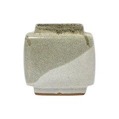 Pierre Culot Geometric Design White and Grey Ceramic Vase, circa 1970