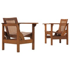 """Pierre Dariel Pair of """"Hendaye"""" Armchairs in Walnut and Cane"""