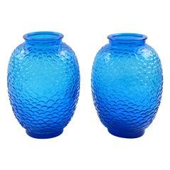 Pierre D'Avesn for Choisy-le-Roi Blue Molded Glass Vase, a pair