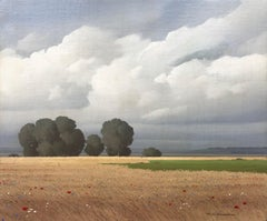 Fields of Wheat and Poppies Landscape Painting Award Winning Paris Salon Artist