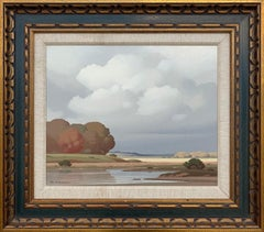 La Mare Nièvre France 20th Century Post War French River Landscape Oil Painting