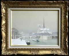 Notre Dame sous la Neige - Boats on River Winter Snow Lanscape by de Clausade