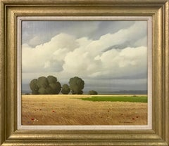Wheat Fields and Poppies with Clouds Landscape Oil Painting by French Artist