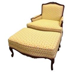 Pierre Deux French Country Provincial Yellow Armchair and Ottoman Set