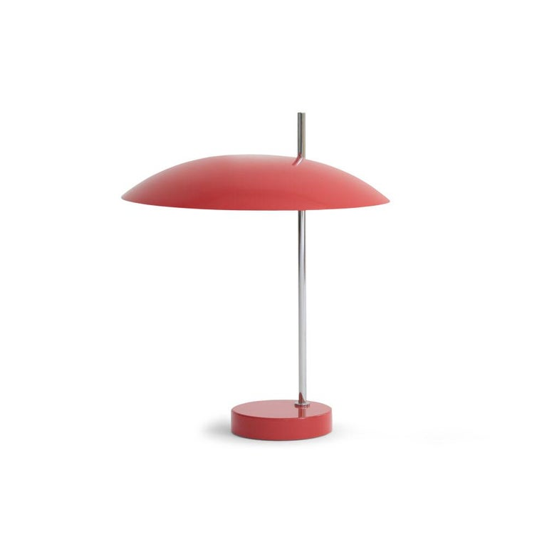 Pierre Disderot Model #1013 table lamp in red and chrome for Disderot France. Originally designed in 1955, this clean and refined table lamp is an authorized re-edition by Disderot made with many of the same small-scale manufacturing techniques and
