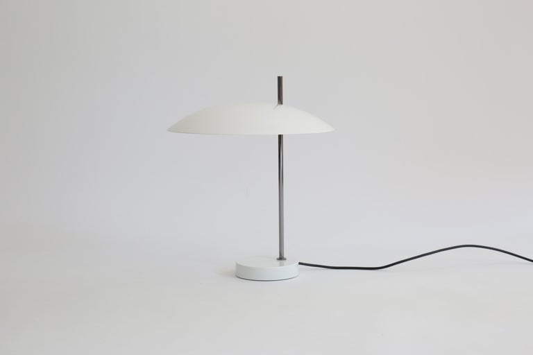 Lacquered Pierre Disderot Model #1013 Table Lamp in Red and Chrome for Disderot, France For Sale