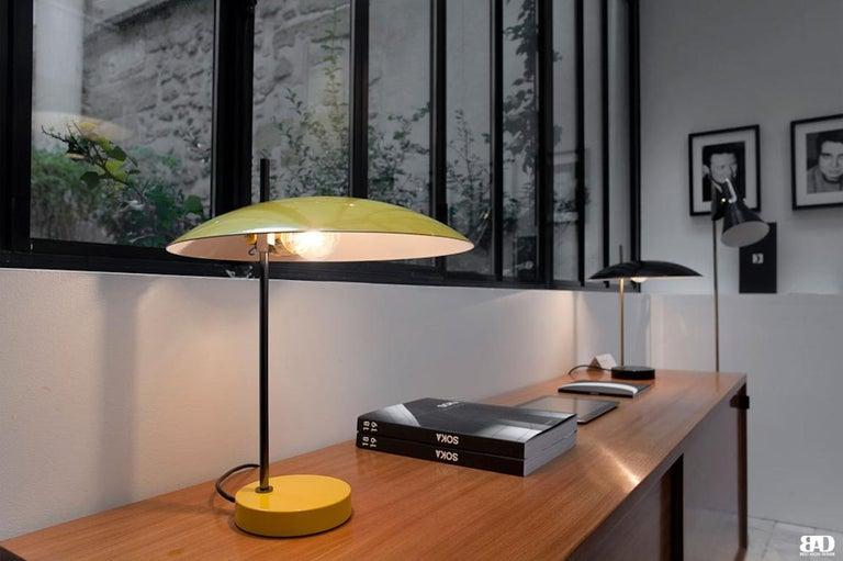 Pierre Disderot Model #1013 Table Lamp in Red and Chrome for Disderot, France For Sale 1