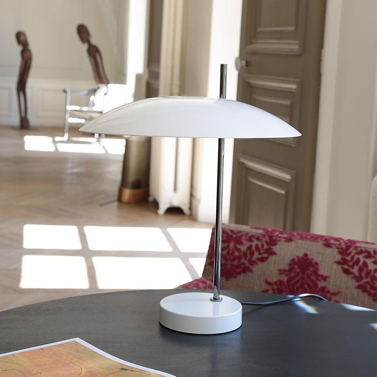 Contemporary Pierre Disderot Model #1013 Table Lamp in Red and Chrome for Disderot, France For Sale