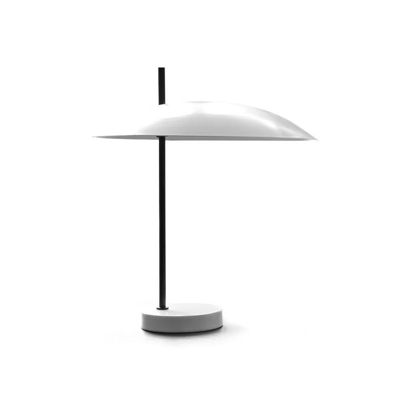 French Pierre Disderot Model #1013 Table Lamp in White and Chrome for Disderot, France For Sale