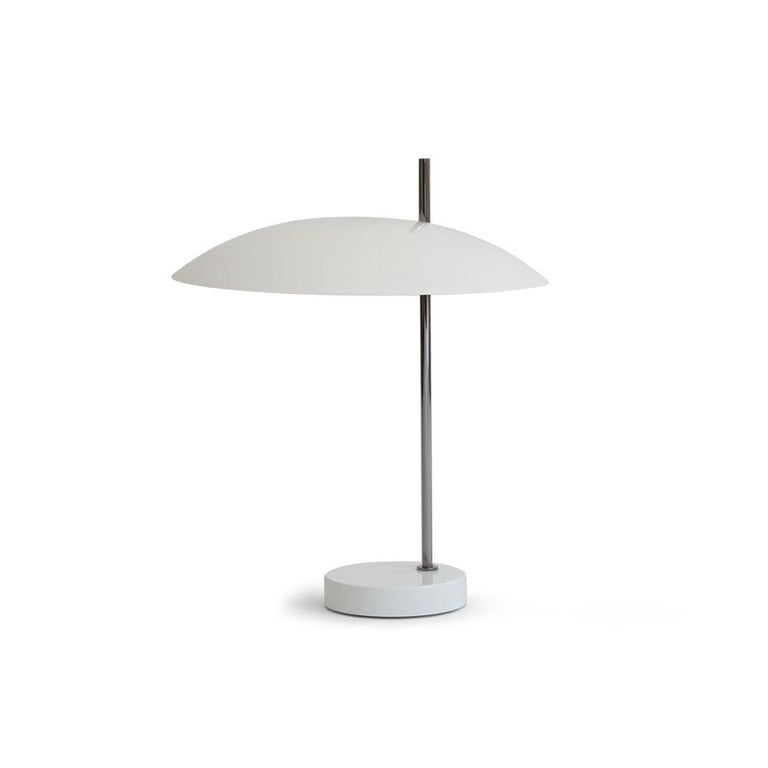 Pierre Disderot model #1013 table lamp in white and chrome for Disderot France. Originally designed in 1955, this clean and refined table lamp is an authorized re-edition by Disderot made with many of the same small-scale manufacturing techniques