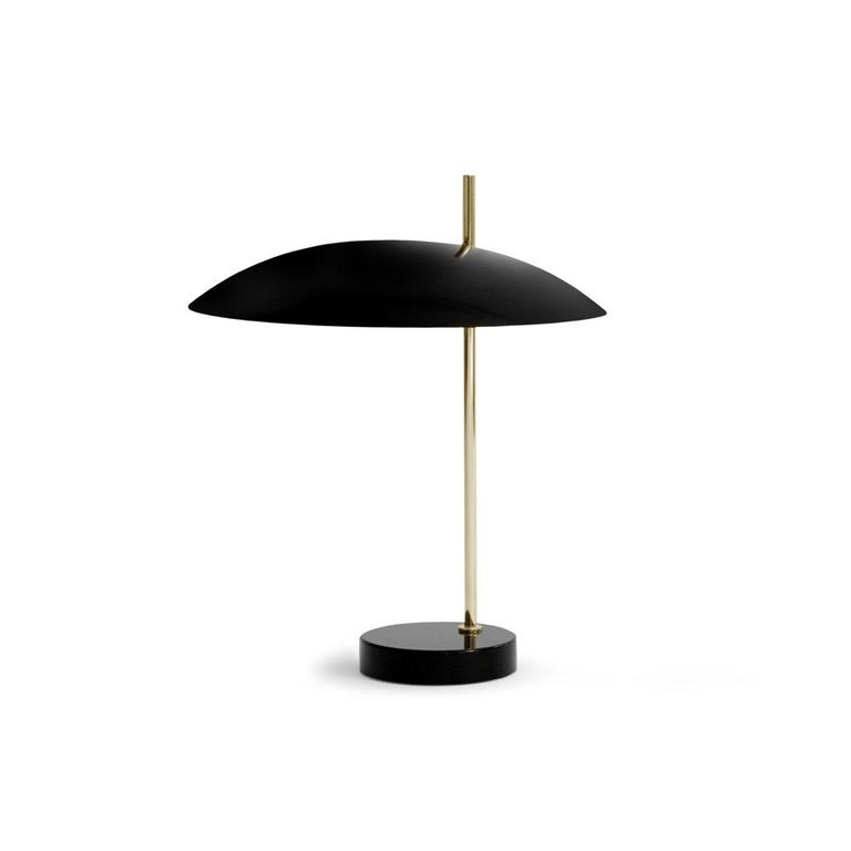Pierre Disderot Model #1013 Table Lamp in Yellow & Gunmetal for Disderot, France For Sale 3