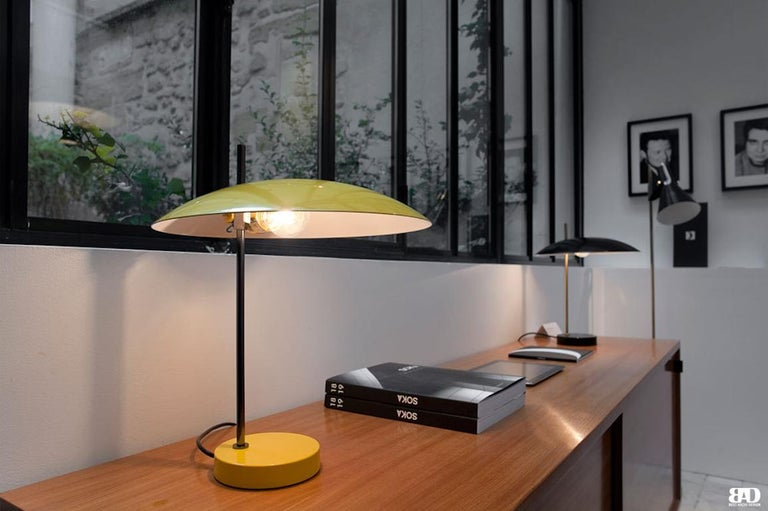Mid-Century Modern Pierre Disderot Model #1013 Table Lamp in Yellow & Gunmetal for Disderot, France For Sale