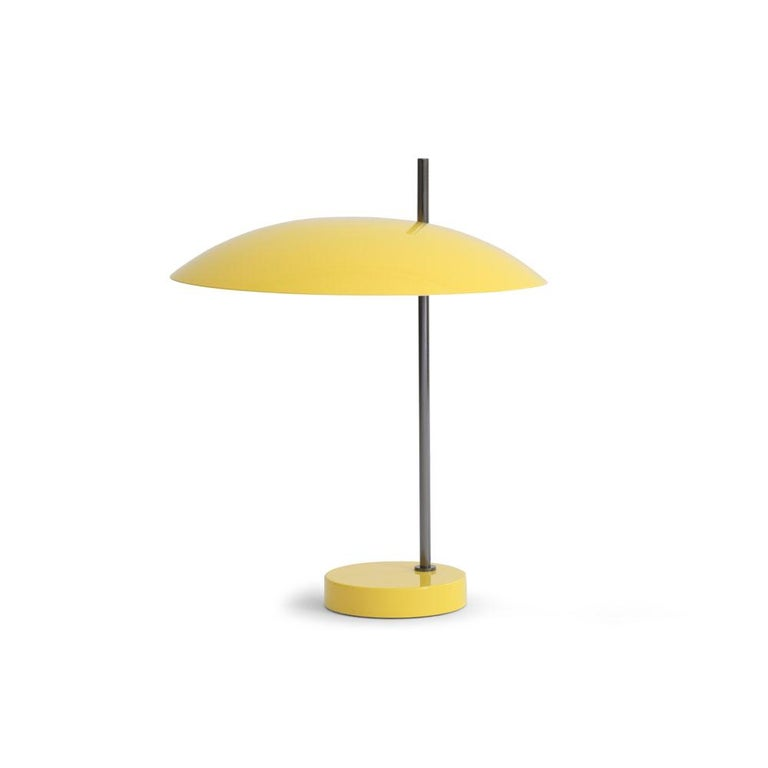 Pierre Disderot model #1013 table lamp in yellow and gunmetal for Disderot, France. Originally designed in 1955, this clean and refined table lamp is an authorized re-edition by Disderot made with many of the same small-scale manufacturing