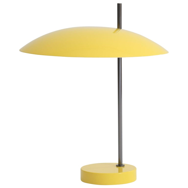 Pierre Disderot Model #1013 Table Lamp in Yellow & Gunmetal for Disderot, France For Sale