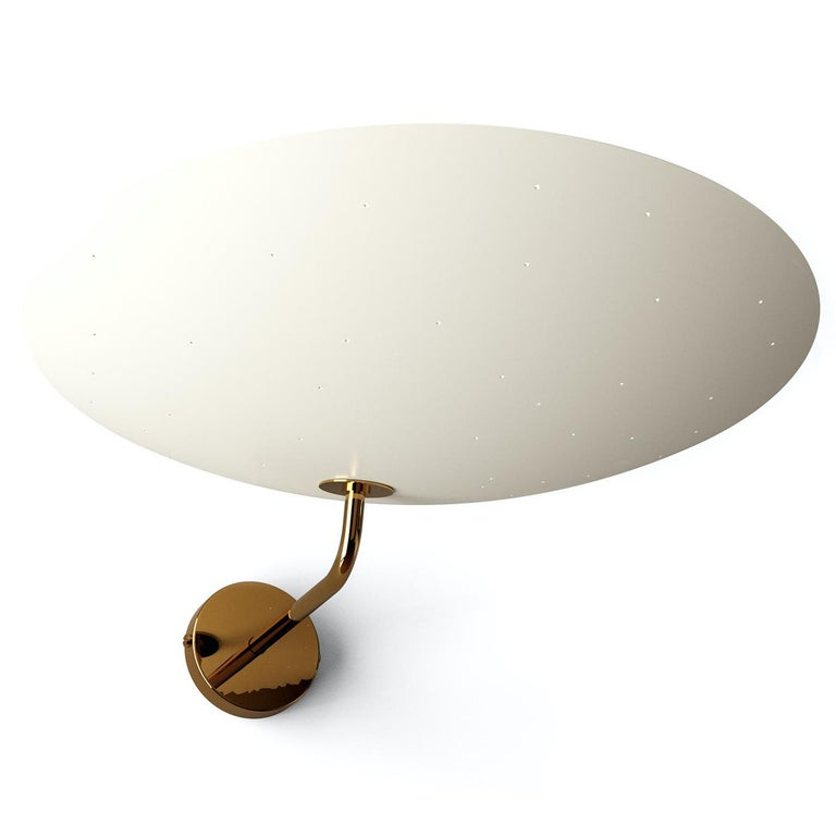 Pierre Disderot Model #2059 Large Perforated Wall Lamp in White & Dark Chrome In New Condition For Sale In Glendale, CA