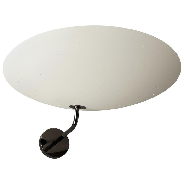 Pierre Disderot Model #2059 Large Perforated Wall Lamp in White & Dark Chrome For Sale