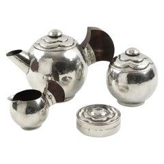 Pierre DuMont Art Deco Pewter Tea Coffee Set, 4 Pieces