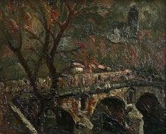 Pont Neuf & Notre Dame - Evening - 20th Century Oil, Paris Landscape by P Dumont