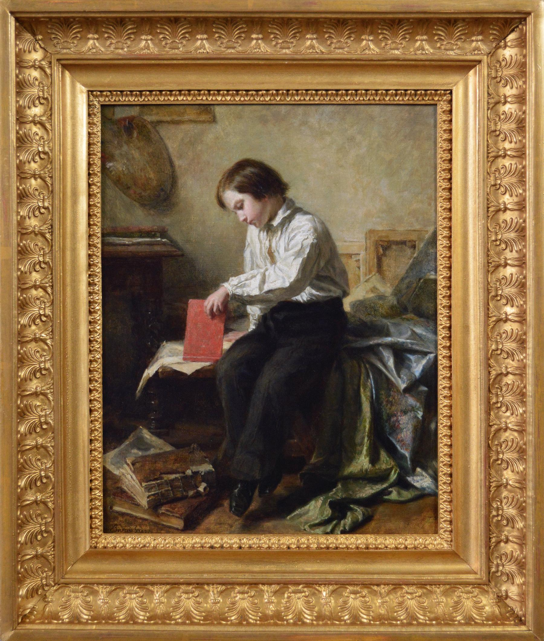 19th Century genre oil painting of a boy in an attic