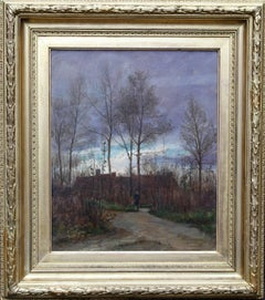 Ecouen North Paris - French 19thC Impressionist art landscape oil painting dusk