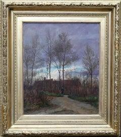 Ecouen North Paris - French 19thC Impressionist art landscape oil painting dusk