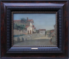 French Village - French 19thC Impressionist oil painting Fountainebleau France