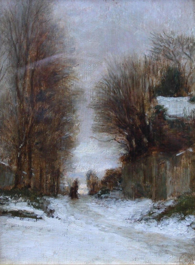 Snow at Fontainebleau - French art 19thC Impressionist landscape oil painting   For Sale 6