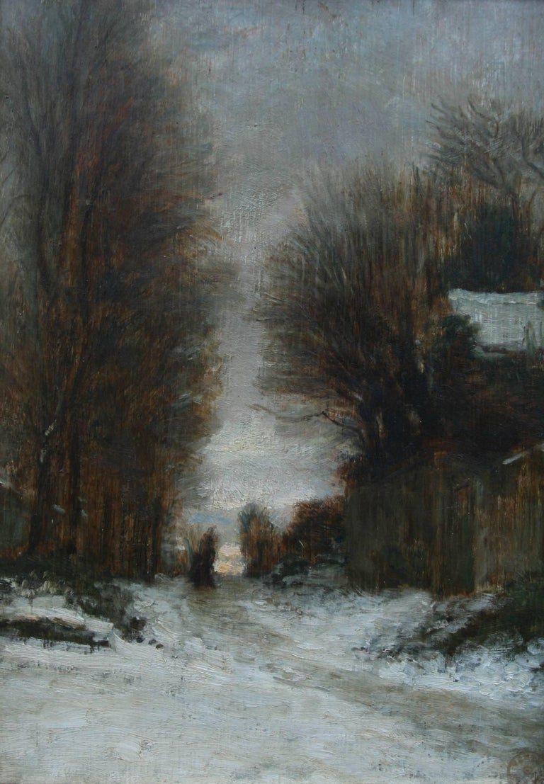 Snow at Fontainebleau - French art 19thC Impressionist landscape oil painting   - Painting by Pierre Edouard Frere