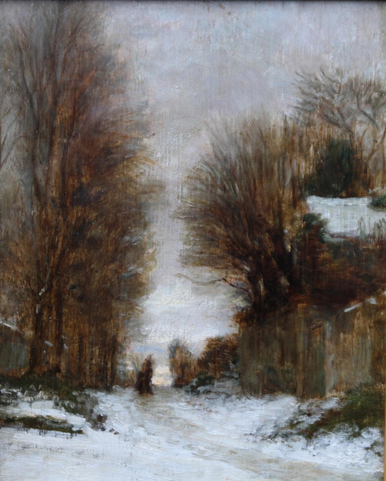 Snow at Fontainebleau - French art 19thC Impressionist landscape oil painting   - Gray Landscape Painting by Pierre Edouard Frere